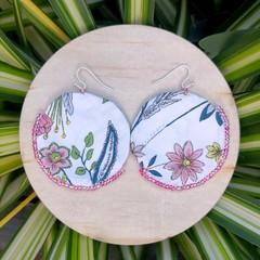 Round Flower Dangle Earrings