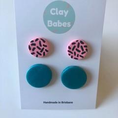Pink sprinkle + turquoise stud pack - polymer clay earrings