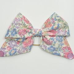 Purple Floral Bow Ear Saver for Ear Loop Face Masks