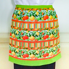 Retro Half Apron - Citrus fruits - womens lined cotton apron