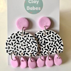 Lilac and white sprinkle dangles - polymer clay earrings