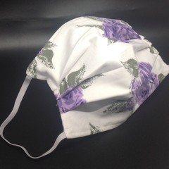 3 layer face mask NOSE WIRE 100% cotton  (Purple flower) FREE POST