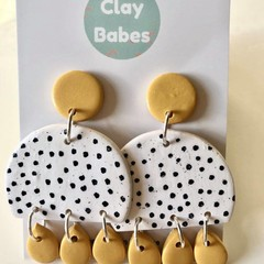 Mustard and white spots - polymer clay earrings