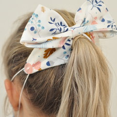 Blue Autumn Bow Ear Saver for Ear Loop Face Masks