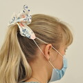 Blue Floral Bow Ear Saver for Ear Loop Face Masks