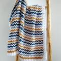 Mustard, Teal, Grey & White Chunky Newborn Hand Crocheted Baby Blanket Afghan
