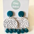 Turquoise and white spots - polymer clay earrings