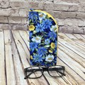 Blue/yellow Floral Zipper Pouch/Glasses Case