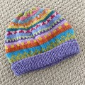 Lilac Beanie - to fit approx size 6-12 months -hand knitted