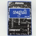 Congratulations Card - Black and White, Blue/Red Gender neutral