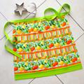 Retro Half Apron - Citrus fruits - womens lined cotton apron