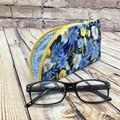 Blue/yellow Floral Zipper Pouch/Glasses Case