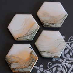 Hexagon tile magnets; alcohol ink + resin - two variations
