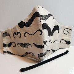 'MOUSTACHE' 3 Layer Face Masks -Washable & Reusable