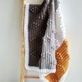 Mustard, Light Grey, Dark Grey, White Chunky Crocheted Bobble Baby Blanket