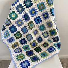 Crocheted Granny Square baby blanket  - Pure wool