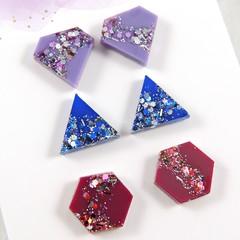 Mini shape studs -purple, dark blue & magenta