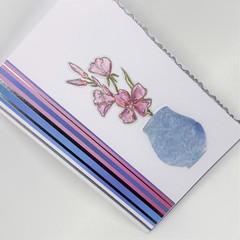 Blank Card - Hand Coloured flowers, textured vase