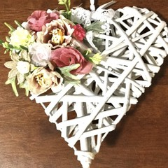 White Wicker Pink Floral Hanging Heart