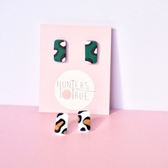 Leopard Print Polymer Clay Small Stud Earrings