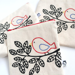 Screen Printed Tree & Hand Embroidered Bird • Zipper Pouch