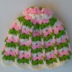 Crocheted baby girl hat, beanie - cream, pink and lime green newborn-3 mth