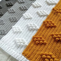 Mustard, Light Grey, Dark Grey, White Chunky Crocheted Bobble Baby Blanket