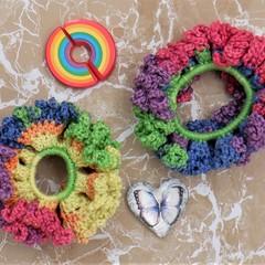 Set of 2 'Rainbow Mayhem' Lacy Hair Bands/Scrunchies