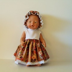Dolls clothes  Dress and Mop Cap for Baby Born doll or similar
