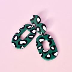Hunter Green Leopard Polymer Clay earrings
