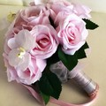 Pink Rose and White Orchid Wedding Bouquet