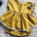 MUSTARD PEPLUM TOP & RUCHED BLOOMER SET, sz 0  (suit 9-12 month old)