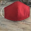Red Cotton Face Mask 3 Layers  *Polka Dots*