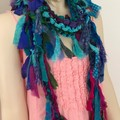 Turquoise blues boho silk scarf, wrap, handknit, recycled sari silk
