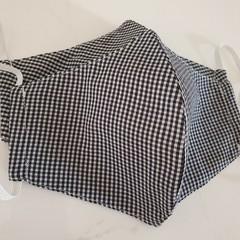 Large Black Gingham Cotton Blend Triple Layer Fabric Face Mask w insert pocket