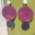 Ginger Pink And Pearl Glitter Earrings