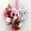 Pink Floral White Wicker Hanging Heart