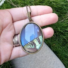 Blue skies and Sunset pendant -butterfly and moth wing