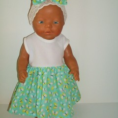 Dolls clothes for Baby Born doll  A dress and headband set.