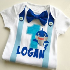 Baby Shark Personalized Boys Birthday Bodysuit with Bow Tie and Suspenders