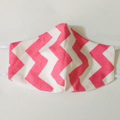 READY TO POST 3 layer Mask Pink Chevron Face Cover Reusable Cloth Mask