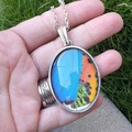 Blue skies and Sunset pendant -butterfly moth wing (multiple colour options)