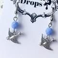Antique Silver Little Flying Swallow Charm Sky Blue Crystal Earrings