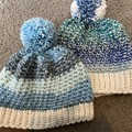 Ladies/Teen hand crocheted beanies- Set of 2
