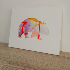 """""""Wally the Wombat"""" original hand painted acrylic silhouette artwork"""