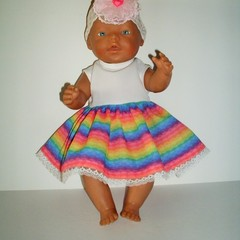 Dolls clothes  A dress and headband set.for Baby Born dolls