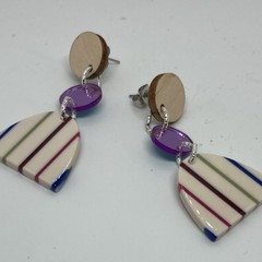 Triple layer purple/white/green/blue  earrings