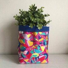 Large fabric planter | Storage basket | Pot cover | ABSTRACT COLOURS