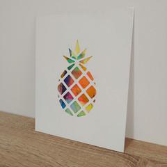 """Pineapple Crush"" original hand painted acrylic silhouette artwork small"