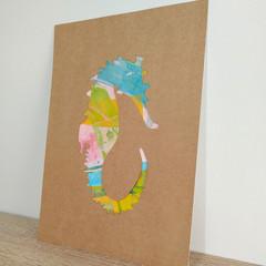 """Sally the Seahorse"" original hand painted acrylic silhouette artwork"